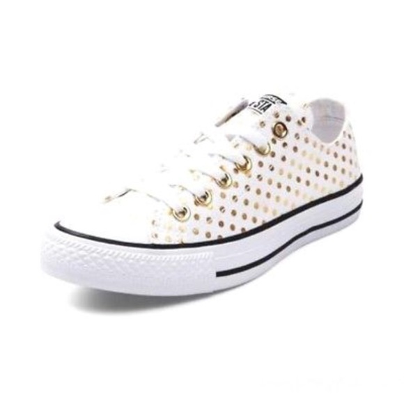 Converse Shoes - Converse Ox White   Gold Polka Dot Canvas Sneakers 9d5ec2498